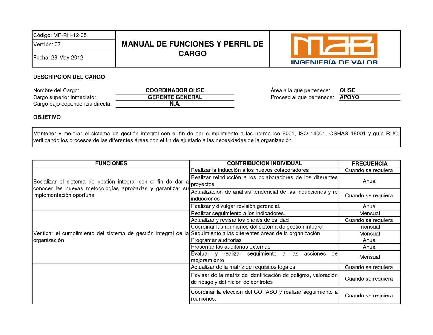 Coordinador qhse by fernando garcia issuu for Manual de funciones y procedimientos de un restaurante