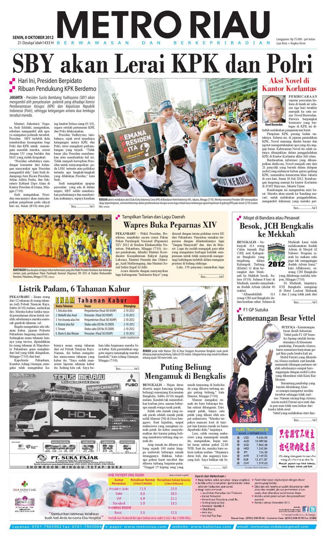 Metroriau 08 10 12 By Harian Pagi Metro Riau Issuu Produk Ukm Bumn Jamu Kunyit Asam Seger Waras