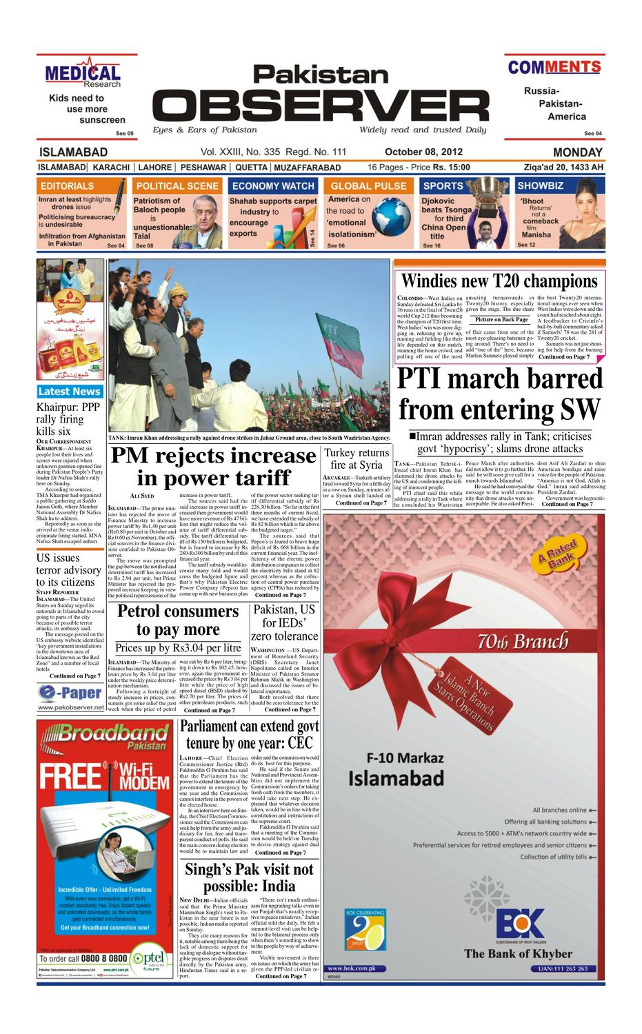 E-Paper October 08, 2012 by Pakistan Observer - issuu