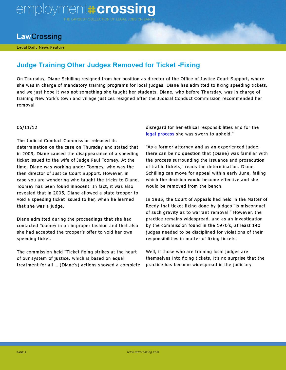 Judge Training Other Judges Removed for Ticket -Fixing by