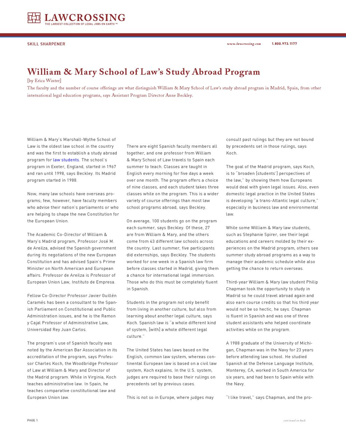 William & Mary School of Law's Study Abroad Program by ...