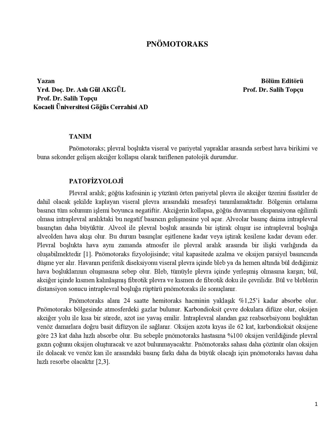 Pnömotoraks Dr Aslı Gül Akgül Dr Salih Topçu By Lookus