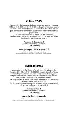 Edition 2013 Chaque Offre Du Passeport Fribourgeoisch Est Valable 1 X Durant Ledition 01012013 31012014 La Presentation De Carte