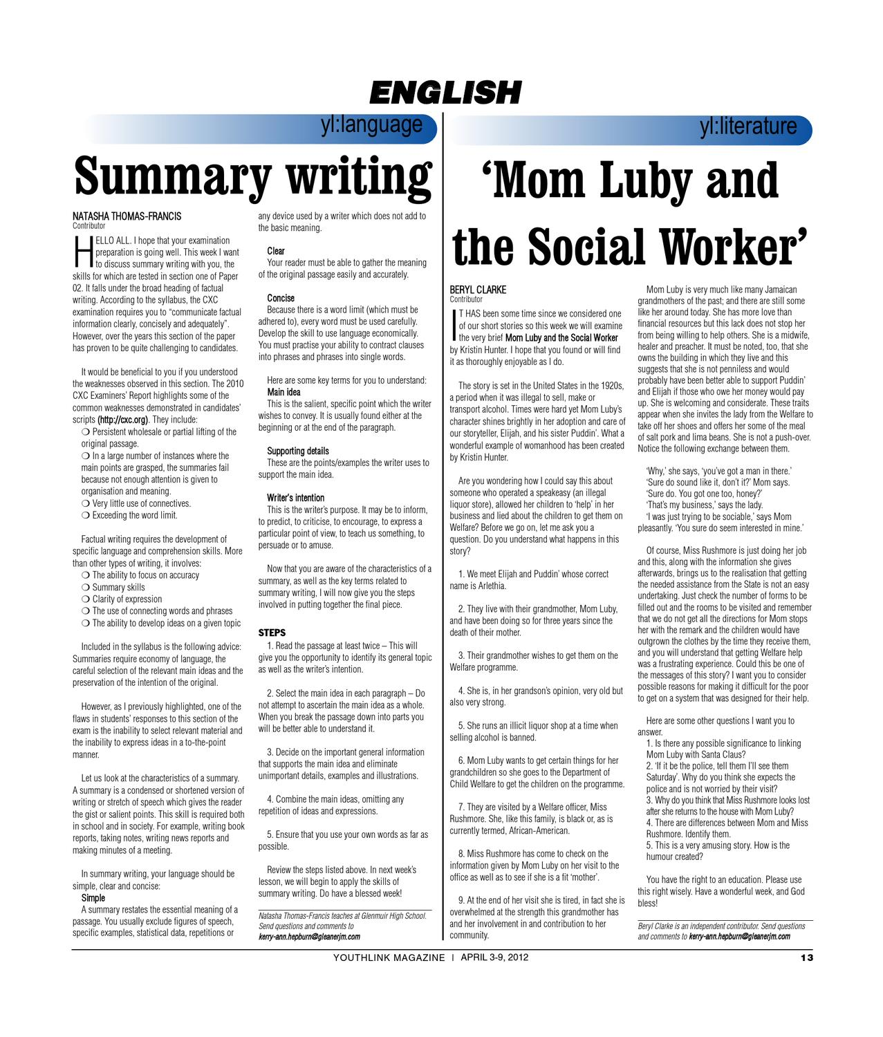 mom luby and the social worker English b notes 2012 - free download as word doc (doc), pdf file (pdf), text file (txt) mom luby and the social worker - literature notes the great irony of the situation is.