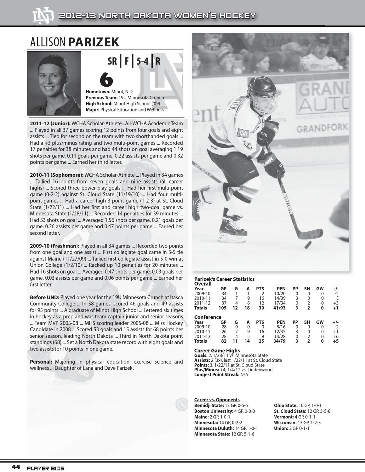 2012 13 University Of North Dakota Women S Hockey Guide By