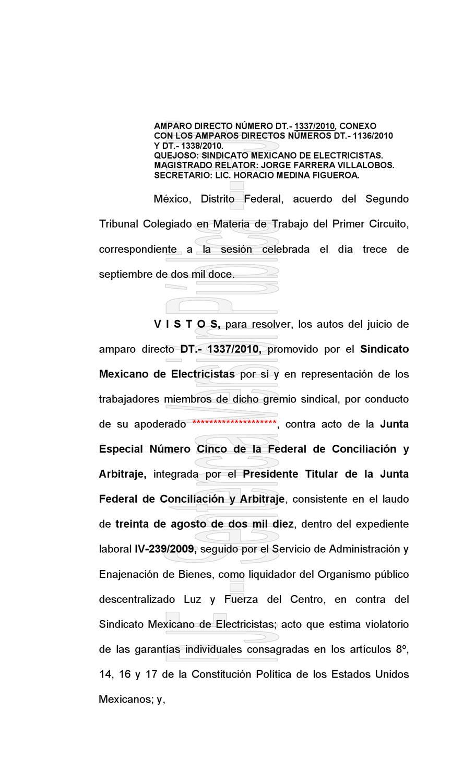 Engrose del Amparo concedido al SME vs el Laudo de la JFCA by Jose ...