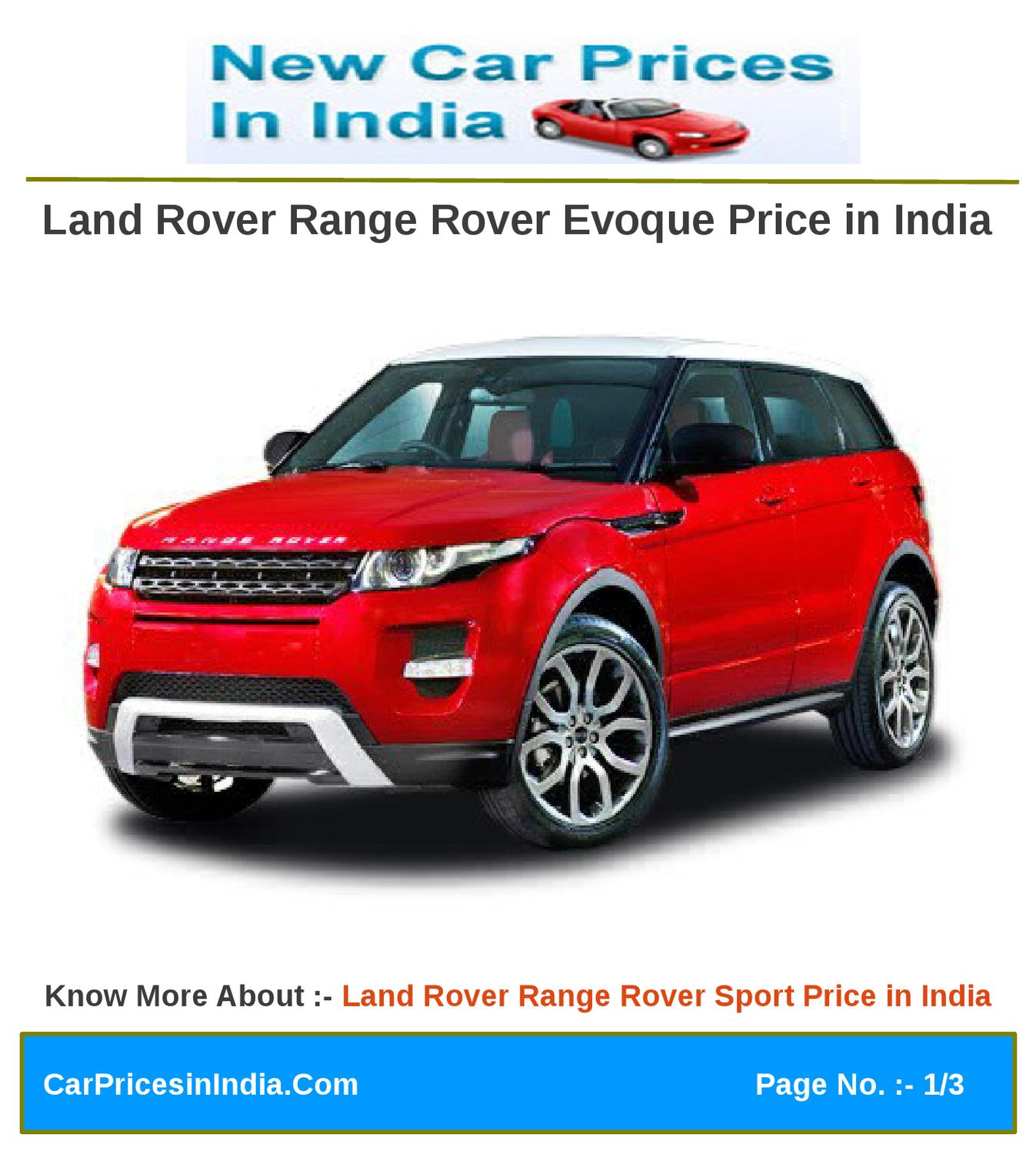 Land Rover Range Rover Evoque Price In India By Manoj Kumar Issuu