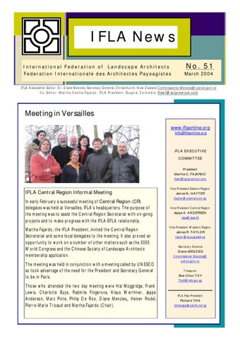 Ifla newsletter by international federation of landscape for Architecte paysagiste versailles
