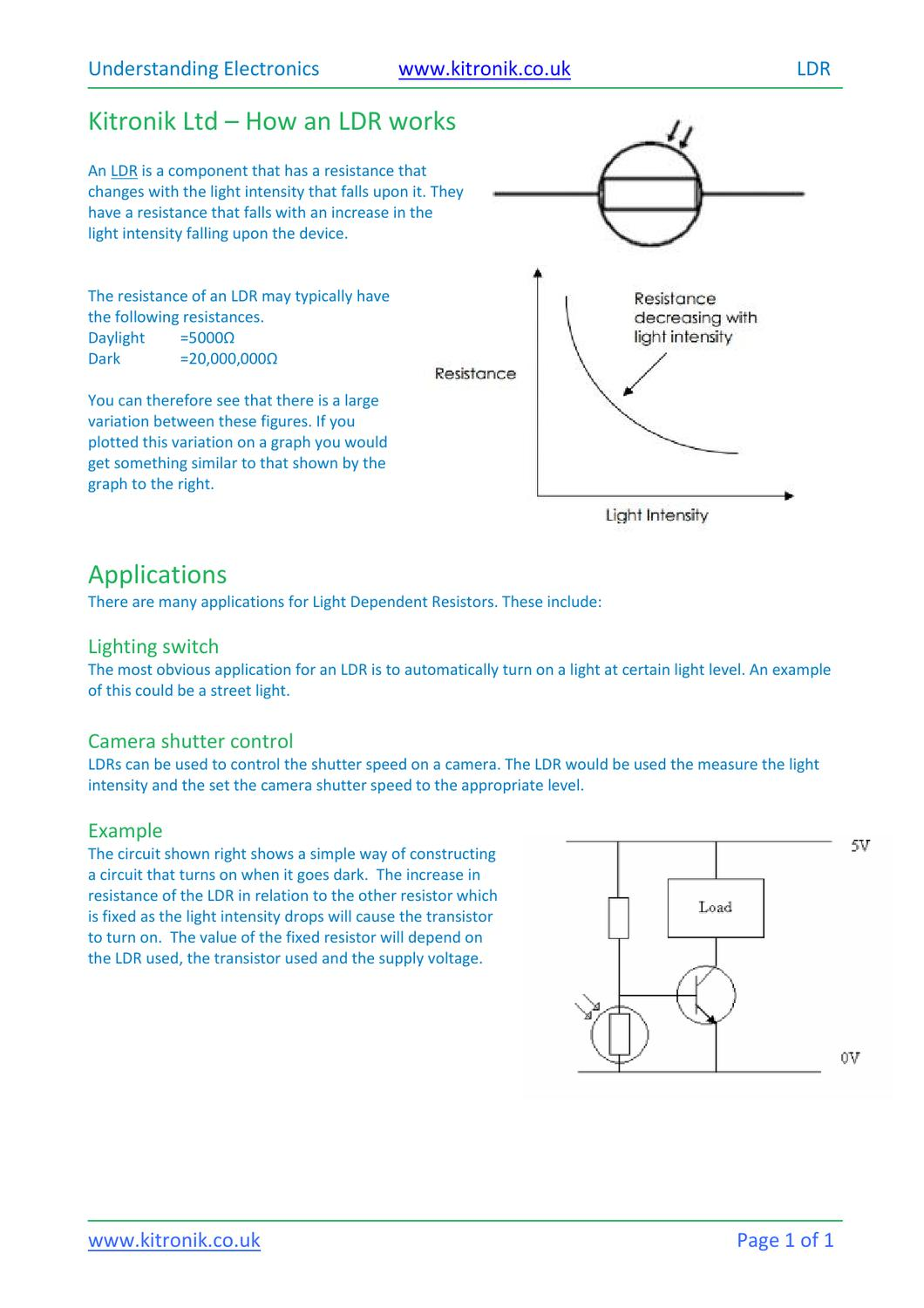 How a light dependent resistor ldr works by kitronik issuu pooptronica Image collections