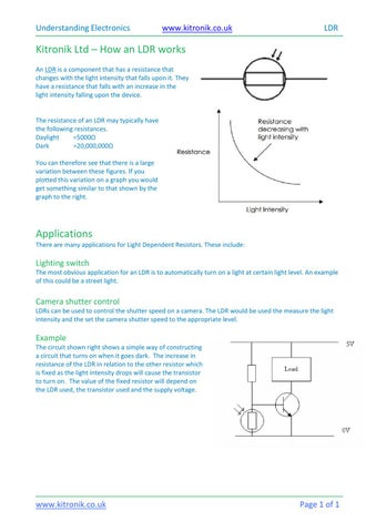 How a light dependent resistor (LDR) works by kitronik - issuu