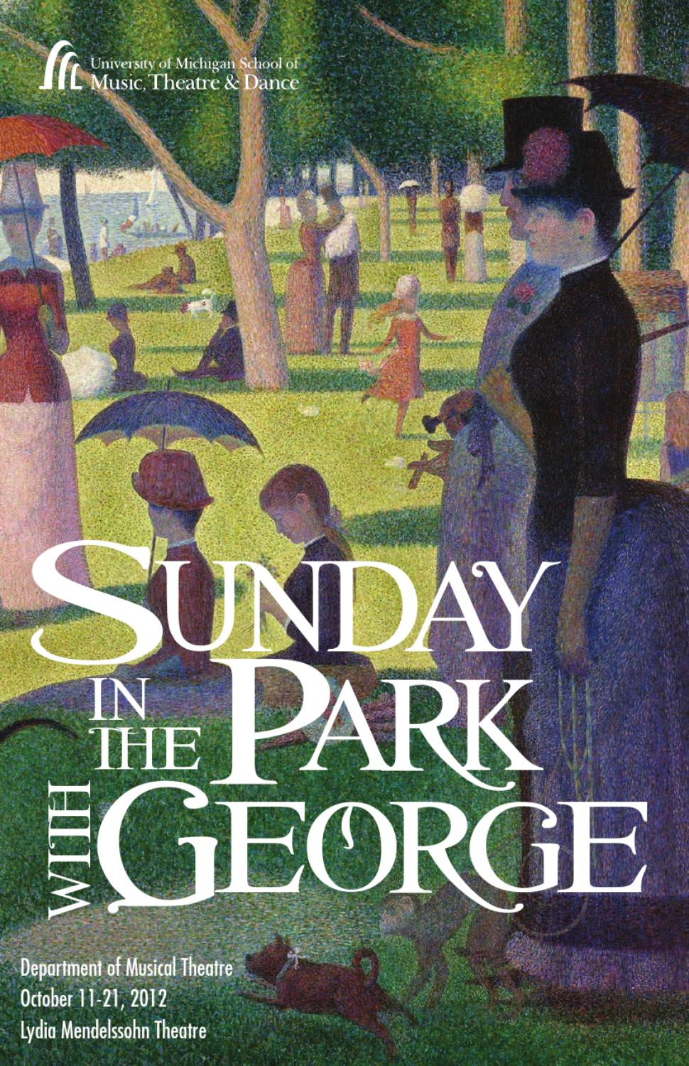 Program for Sunday in the Park with George by University of Michigan ...