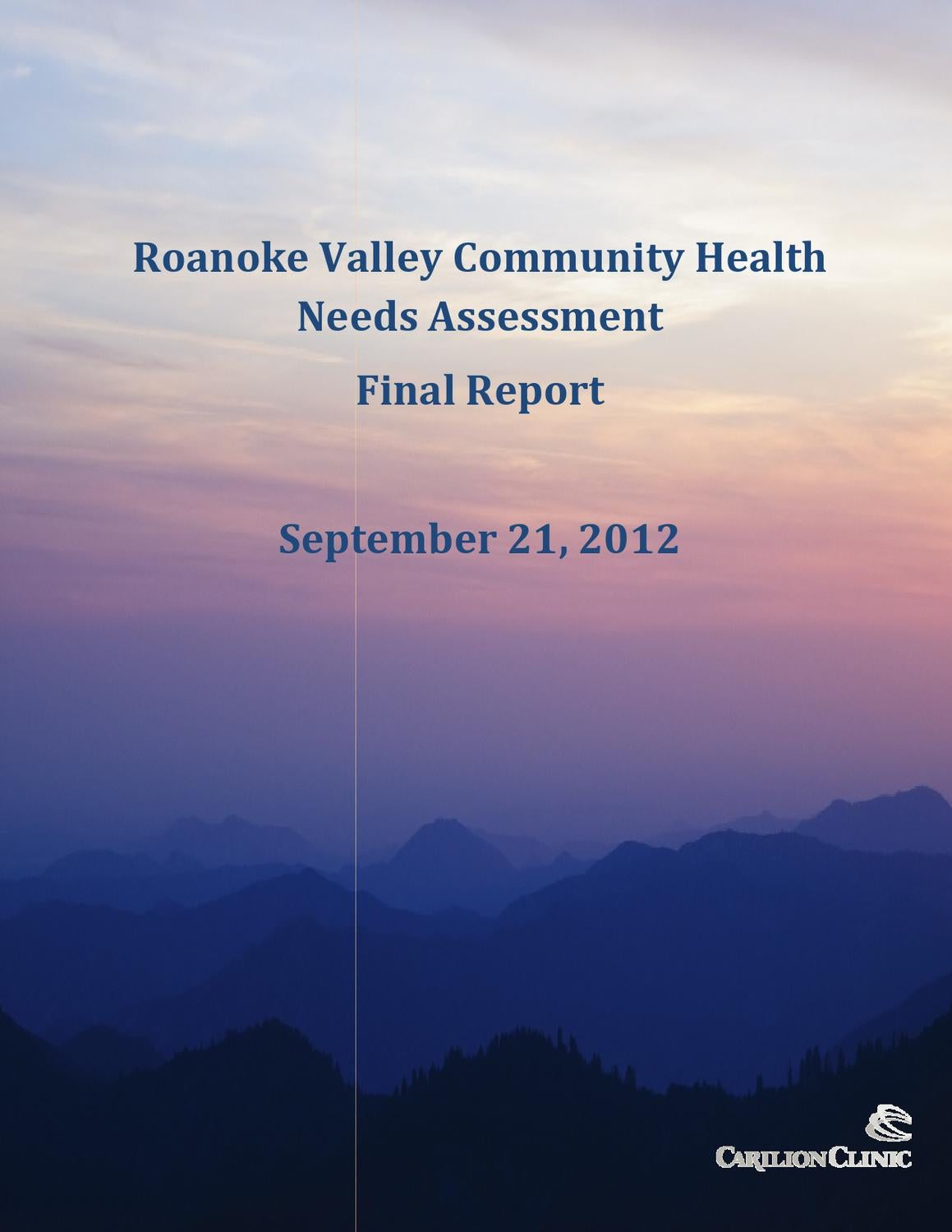 roanoke valley community health needs assessment final report by