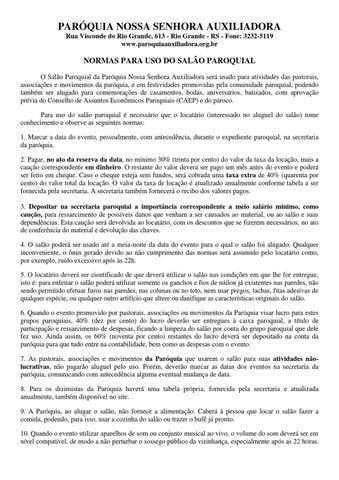 Contrato Uso Do Salão Paroquial By Dirceu Fernando Belotto