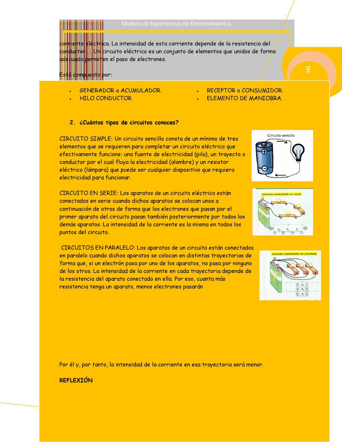 Circuito Sencillo : Modulo de experiencias de electrodinamica 5h by shirley cordova