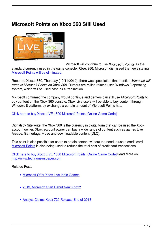 Microsoft Points on Xbox 360 Still Used by mona lisa - issuu