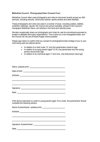PhotographyVideo Consent Form By Colin Mitchell  Issuu