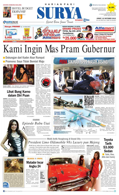 E Paper Surya Edisi 12 Oktober 2012 By Harian Issuu Nissan Elgrand Karpet Mobil Comfort Deluxe 12mm Car Mat Full Set