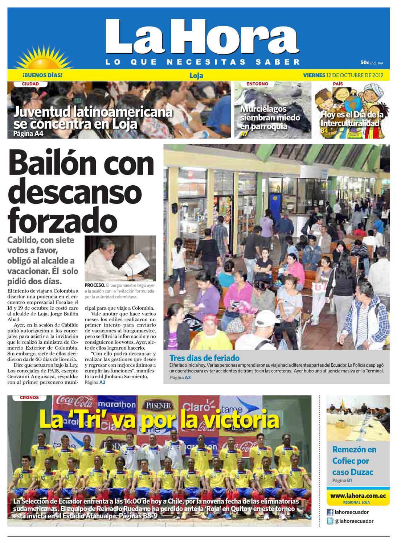 Diario La Hora Loja 12 De Octubre 2012 By Diario La Hora Ecuador  # Muebles Bailon Peligros