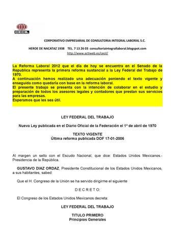 Analisis comparativo L.F.T. actual en Mexico y su reforma by Memo ...
