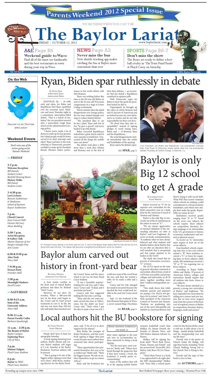 The Baylor Lariat: Parents Weekend Issue 2012 by The Baylor