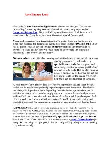 Innovative Auto Finance >> Auto Finance Leads By Joe Christian Issuu