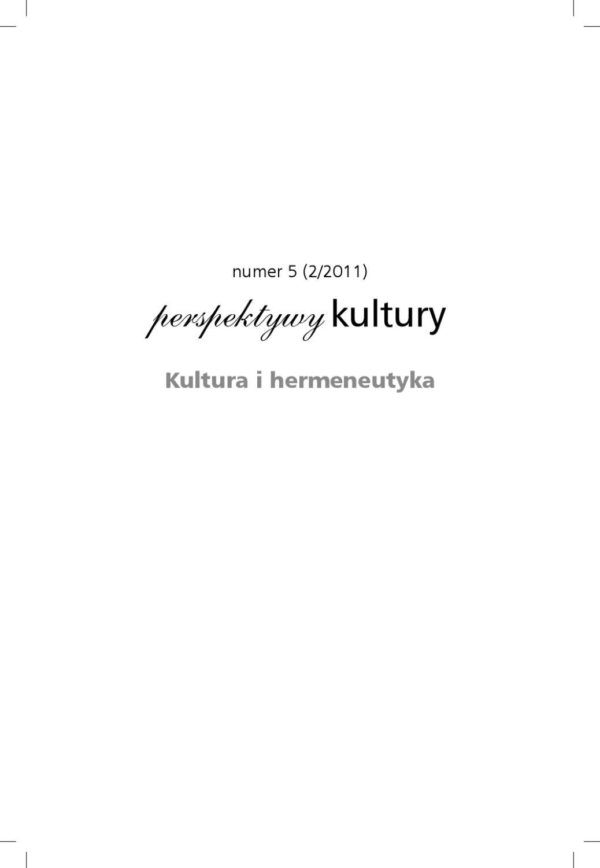 Perspektywy Kultury Numer 5 By Tomasz Tisończyk Issuu
