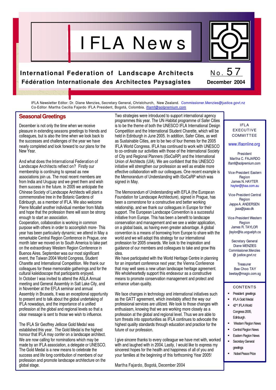 Ifla newsletter 57 by international federation of for International federation of landscape architects