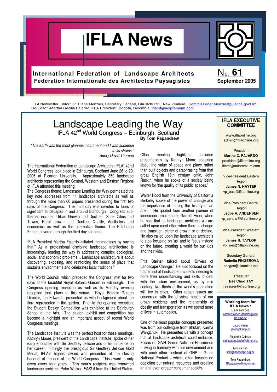 Ifla newsletter 61 by international federation of for International federation of landscape architects