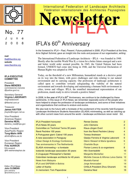 IFLA Newsletter # 77 by International Federation of
