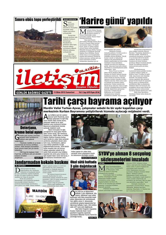 13 Ekim 2012 Cumartesi Gazete Sayfalari By Mardin Iletisim