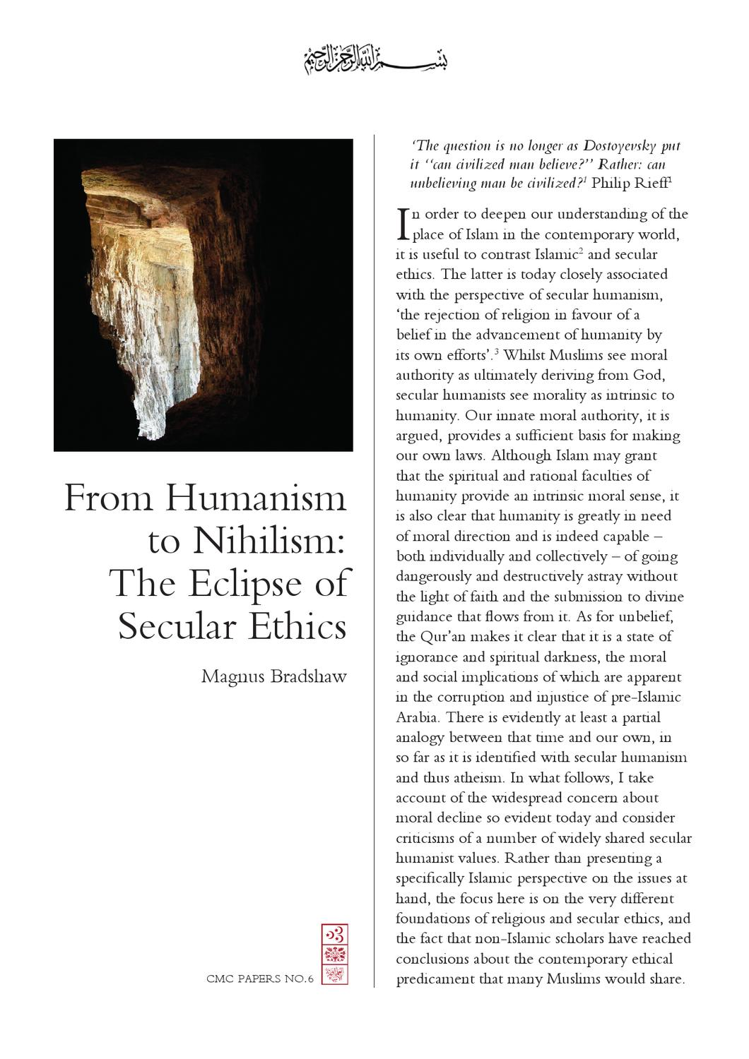 essays on secular humanism Secular humanism 1 summarize the worldview by using the main categories of belief discussed in the assigned course reading (see groothuis chapter 4 for some of the main categories of belief: ultimate reality, source of authority, human beings, source of morality, etc.