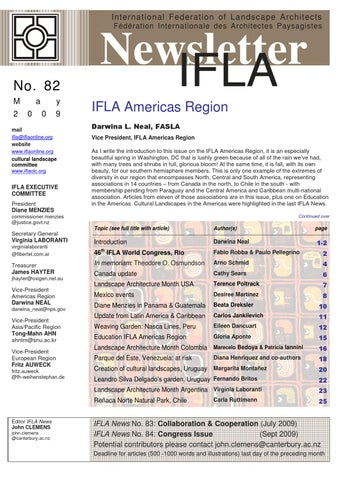 Ifla newsletter 82 by international federation of for International federation of landscape architects