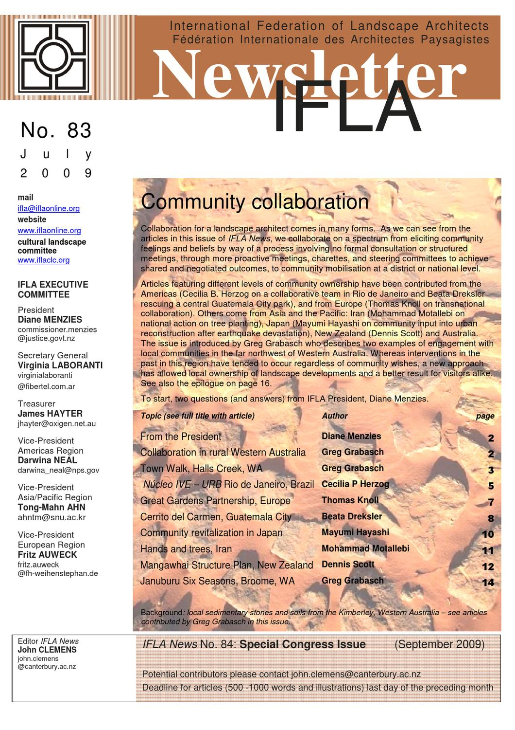 Ifla newsletter 83 by international federation of for International federation of landscape architects