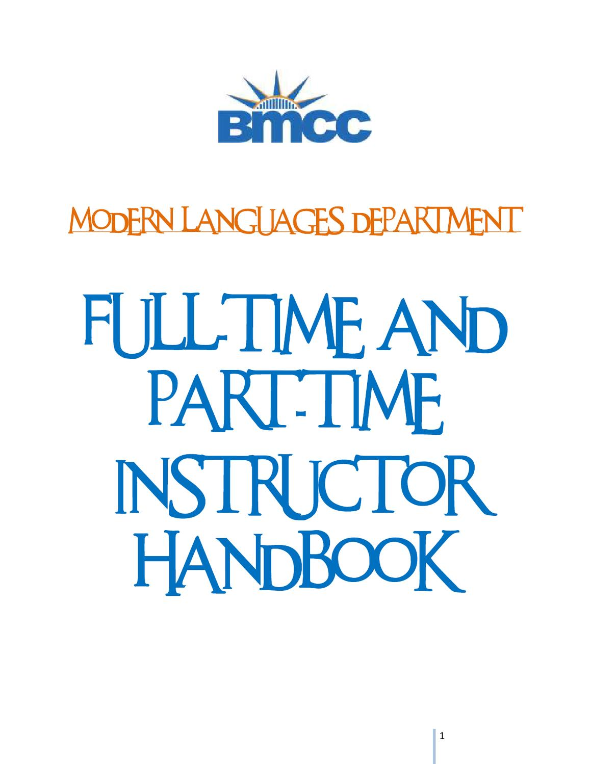 FACULTY HANDBOOK MLD/bmcc (DEF) by Modern Languages