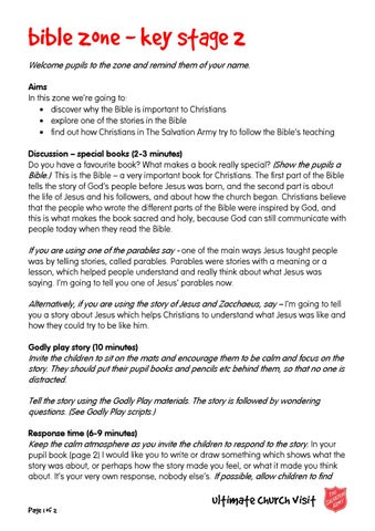 Bible zone script KS2 by The Salvation Army UK Territory