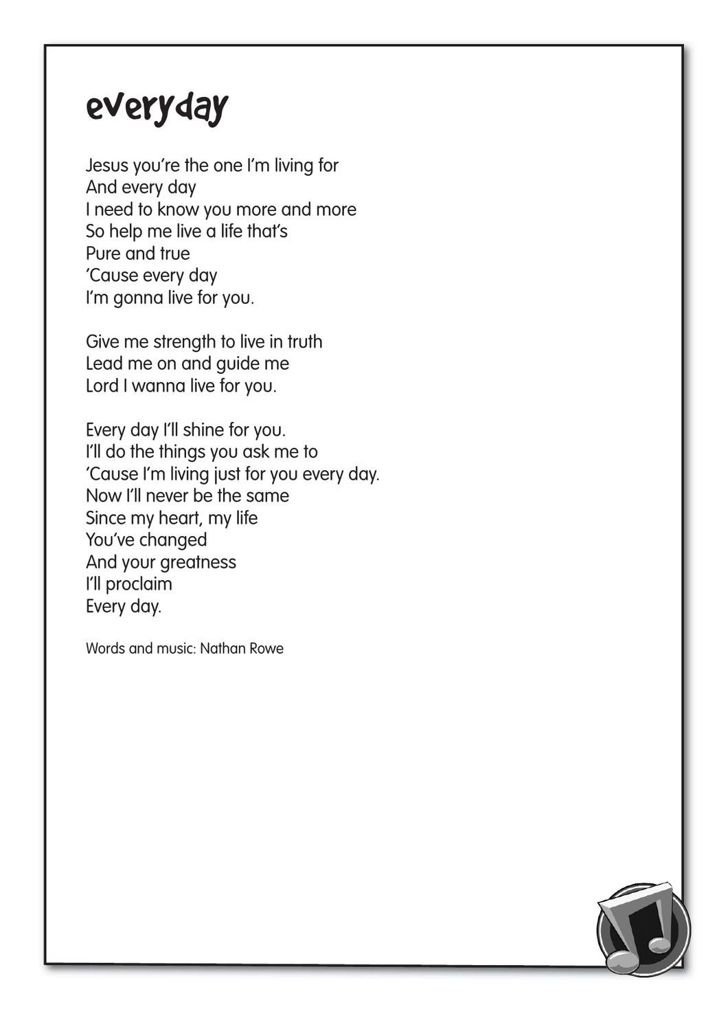 Everyday lyrics by The Salvation Army UK Territory with the Republic