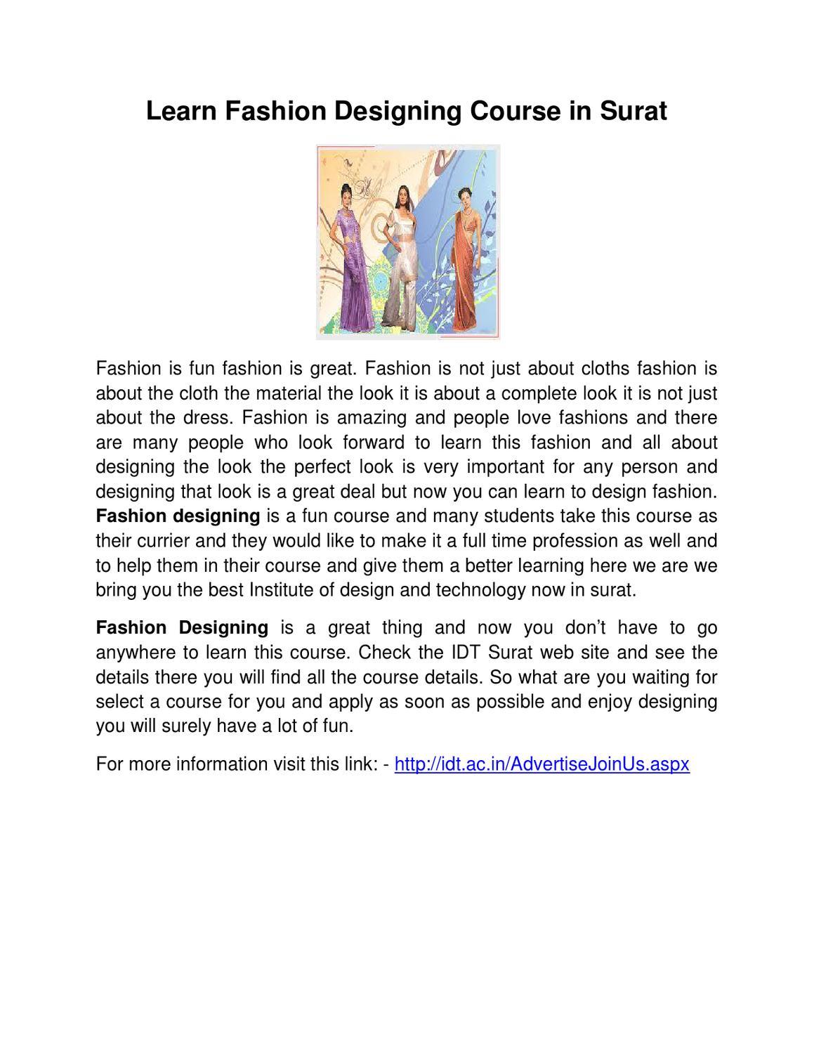 Learn Fashion Designing Course In Surat By Fashion Ova Issuu
