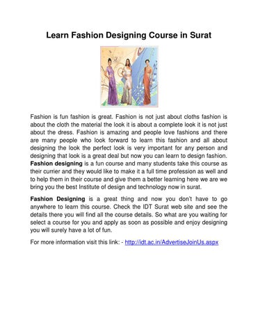 Learn Fashion Designing Course In Surat By Fashion Ova Issuu