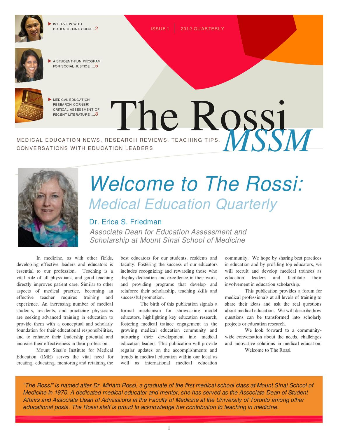 The Rossi: Medical Education Quarterly Newsletter by Mount