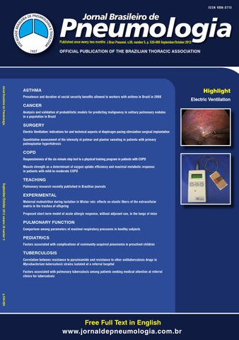 Brazilian Journal of Pulmonology - Volume 38, number 5, September ... 36cb917dc3