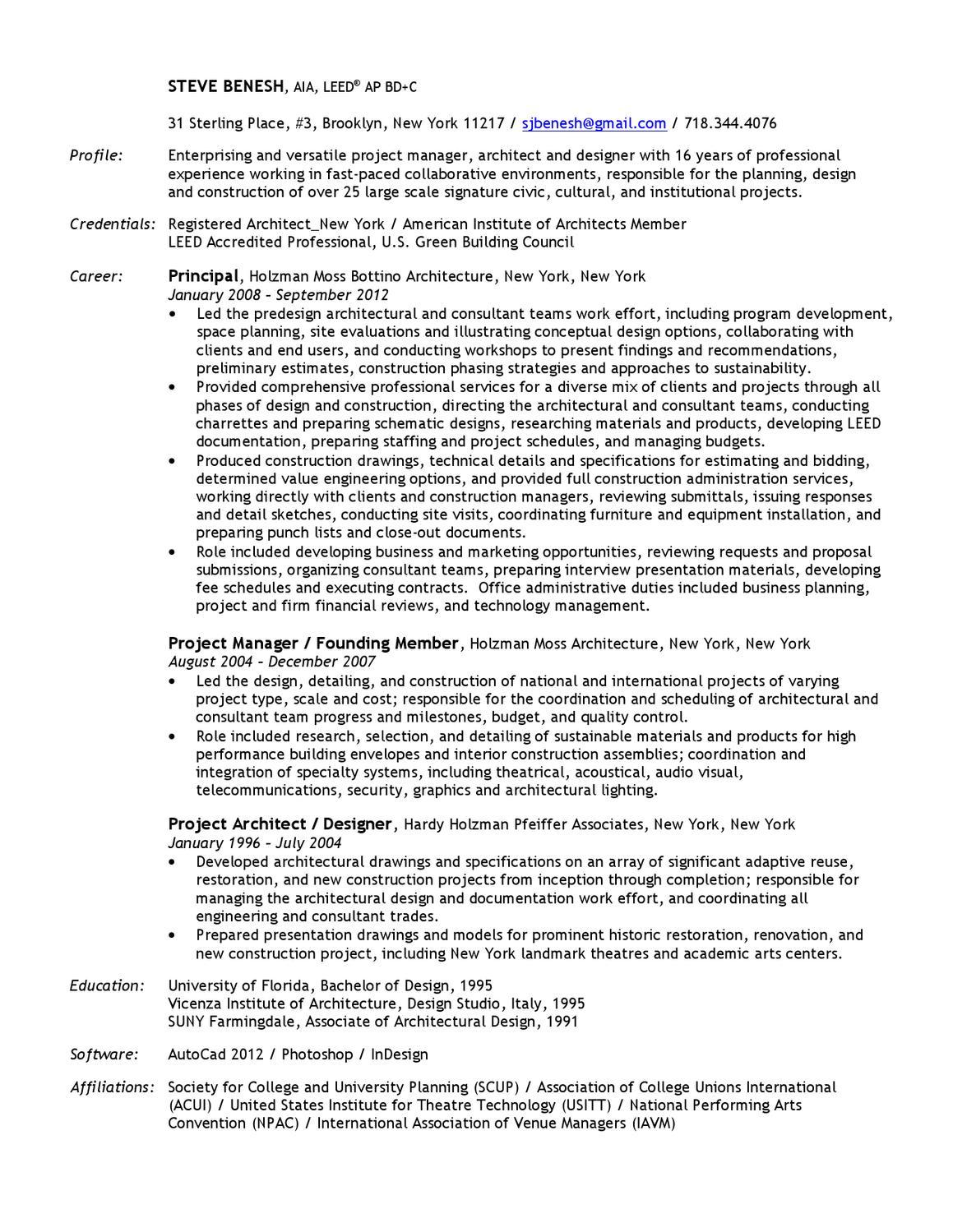sb resume by steve benesh