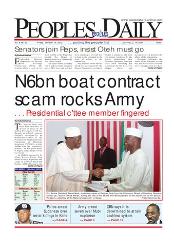 Peoples Daily Newspaper Friday 19 October 2012 By Peoples Media