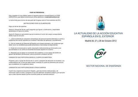 Csif programa congreso actualidad de la acci n for La accion educativa en el exterior