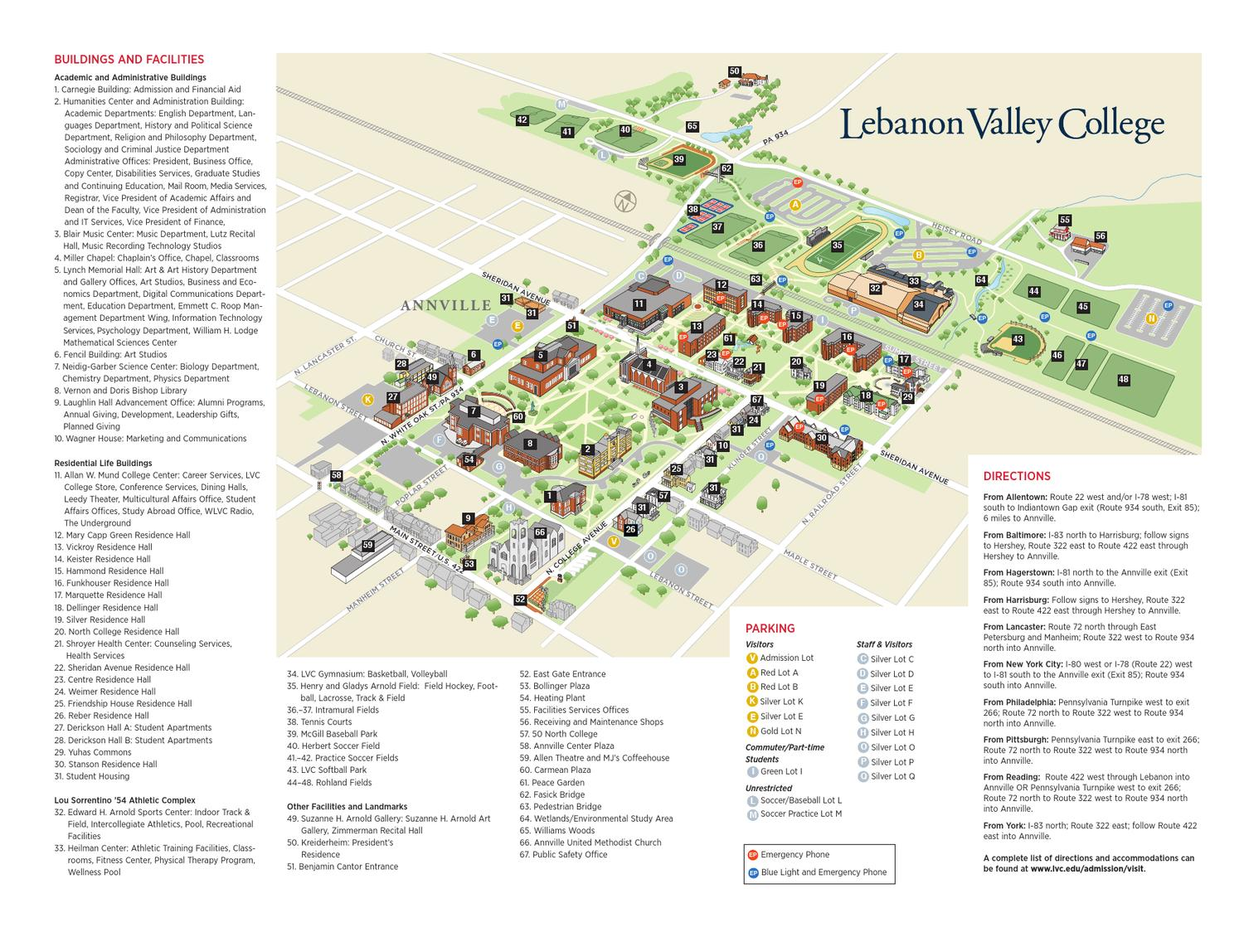 Lebanon Valley College Campus Map.Come See For Yourself Lvc Campus Map Brochure By Lebanon Valley
