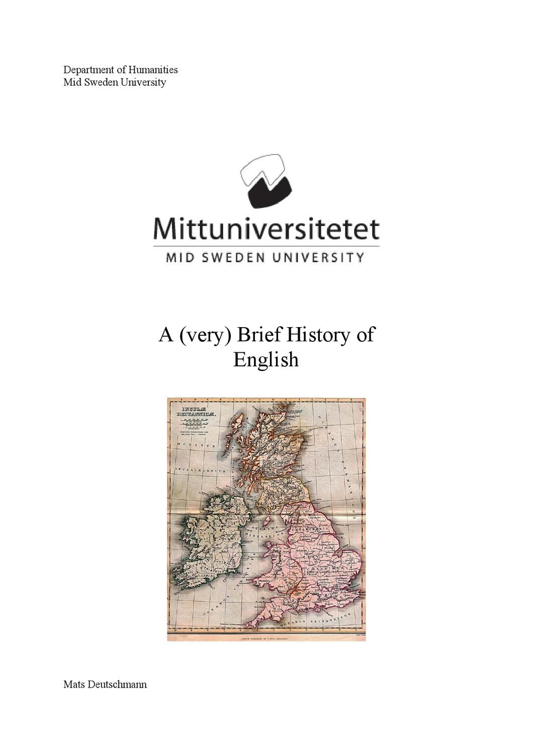 The History Of The English Language By David Chamorro Issuu - Mid sweden university map