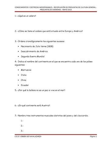 1er Cuadernillo De Preguntas De Cultura General Cdi By Estibaliz Colegio Issuu