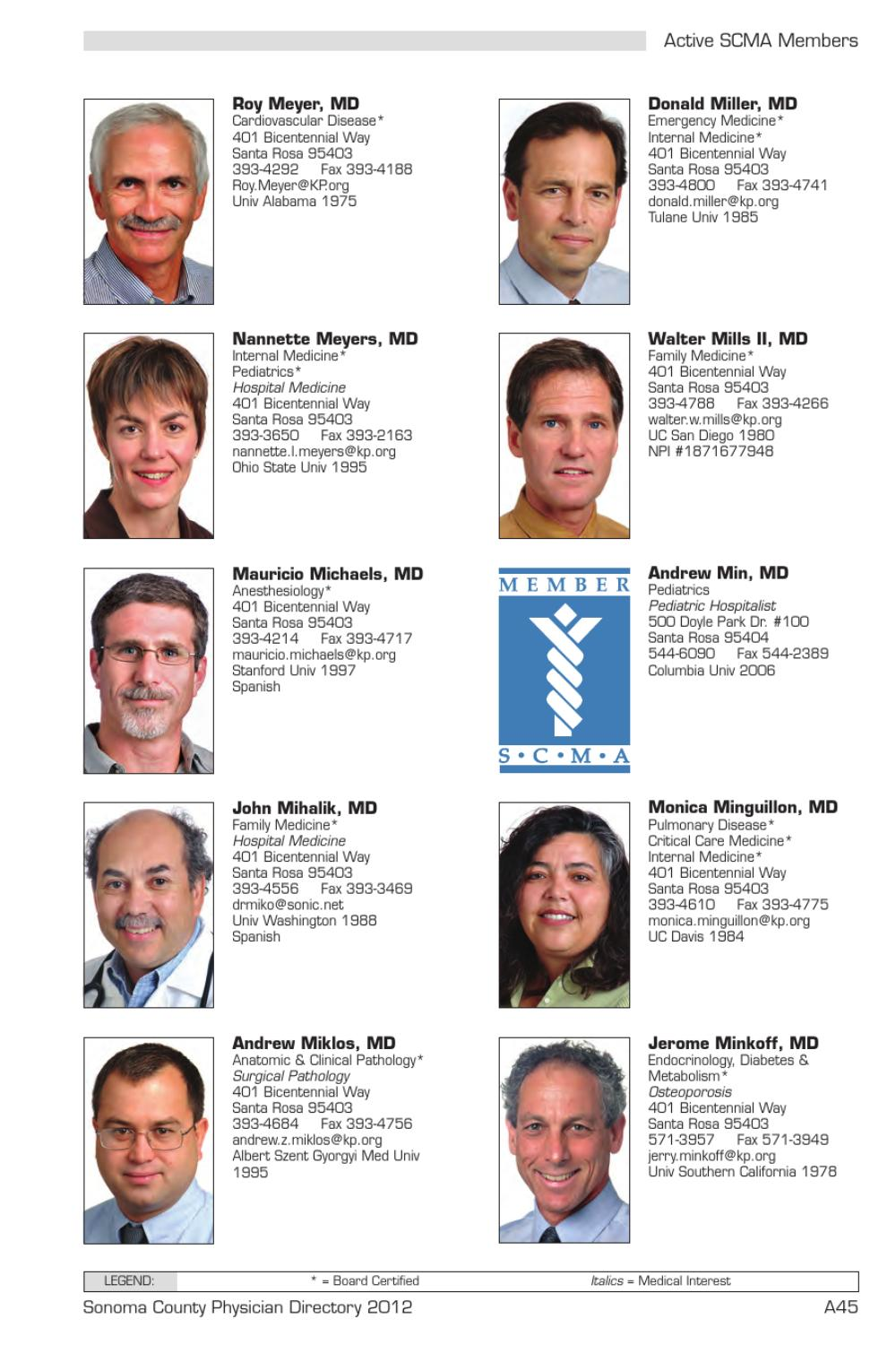 Sonoma County Physician Directory 2012 by Sonoma County Medical