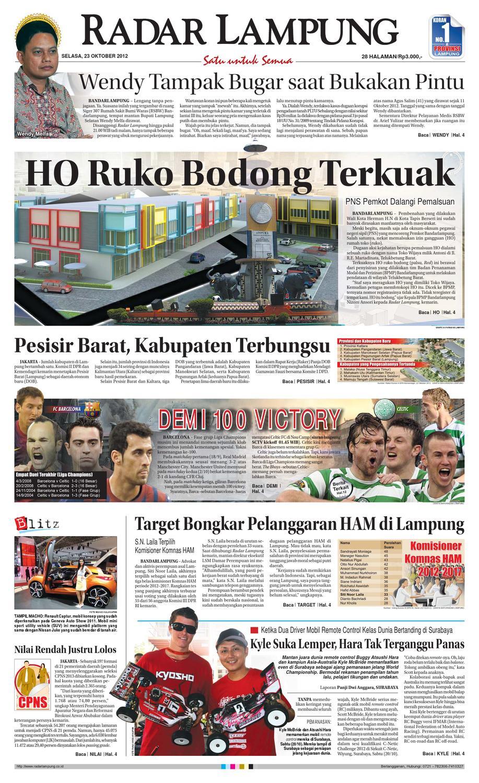 Radar Lampung Selasa 23 Oktober 2012 By Ayep Kancee Issuu Produk Ukm Bumn Mumtaz Cane 93 Original