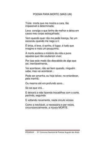 Poema Para A Morte Mais Um By Wedness Campos Issuu