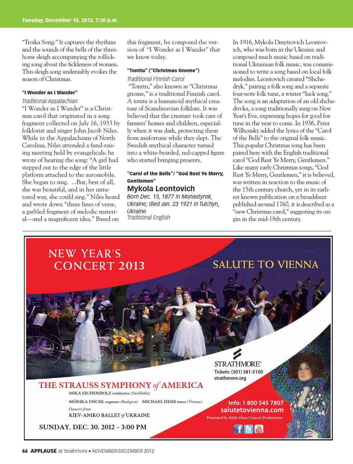 November December Issue Of Applause By Strathmore Issuu